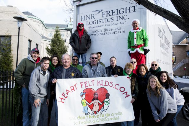 Danny Maniscalco, who leads the Heartfelt Foundation, brings his family and friends to deliver the truckload of toys and gifts to HeartShare.