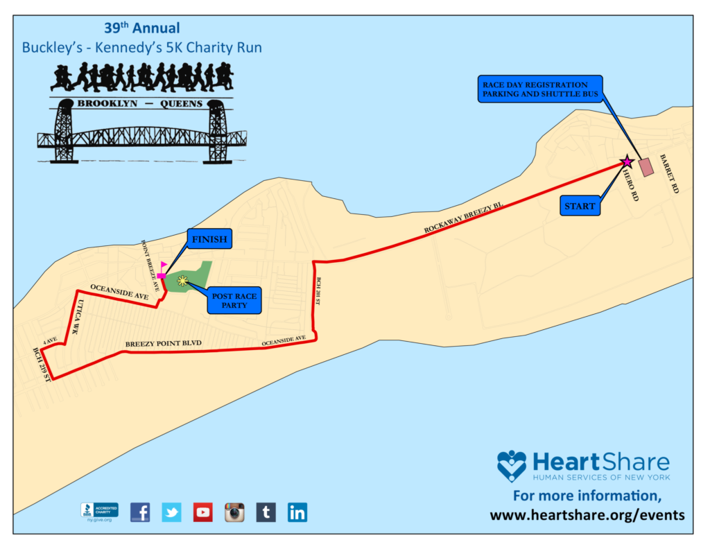 2019 Buckley's - Kennedy's 5K Charity Run Course Map